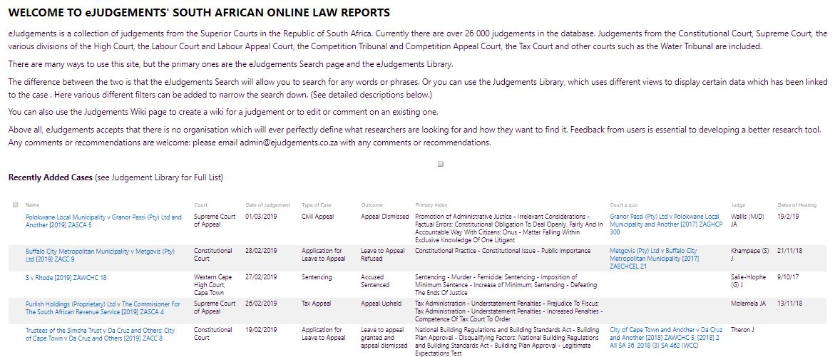 eJudgements' SA Online Law Reports SharePoint Homepage